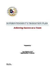 SUPERINTENDENT S TRANSITION PLAN