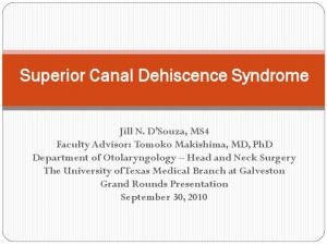 Superior Canal Dehiscence Syndrome