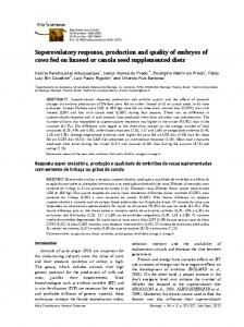 Superovulatory response, production and quality of embryos of cows fed on linseed or canola seed supplemented diets