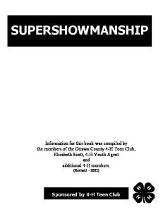SUPERSHOWMANSHIP. Sponsored by 4-H Teen Club