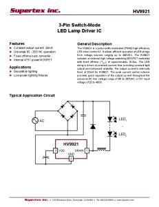 Supertex inc. HV Pin Switch-Mode LED Lamp Driver IC HV9921