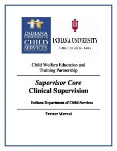Supervisor Core Clinical Supervision