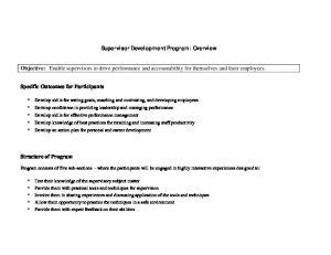 Supervisor Development Program: Overview