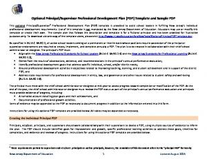 Supervisor Professional Development Plan (PDP) Template and Sample PDP