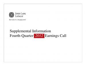 Supplemental Information Fourth-Quarter 2012 Earnings Call