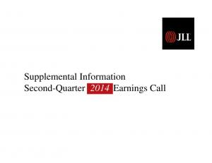 Supplemental Information Second-Quarter 2014 Earnings Call