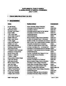 SUPPLEMENTAL PUBLIC AGENDA ALABAMA BOARD OF MEDICAL EXAMINERS June 17, Name Medical School Endorsement