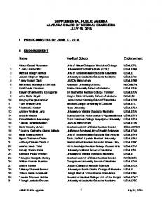 SUPPLEMENTAL PUBLIC AGENDA ALABAMA BOARD OF MEDICAL EXAMINERS JULY 15, Name Medical School Endorsement