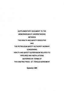 SUPPLEMENTARY DOCUMENT TO THE MEMORANDUM OF UNDERSTANDING BETWEEN THE HEALTH AND SAFETY EXECUTIVE AND THE PETROLEUM SAFETY AUTHORITY NORWAY CONCERNING