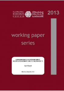SUPPLEMENTARY EDUCATION IN TURKEY: RECENT DEVELOPMENTS AND FUTURE PROSPECTS