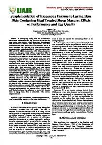 Supplementation of Exogenous Enzyme to Laying Hens Diets Containing Heat Treated Sheep Manure: Effects on Performance and Egg Quality