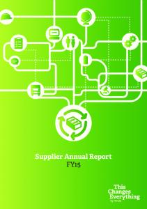 Supplier Annual Report FY15
