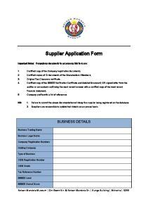 Supplier Application Form