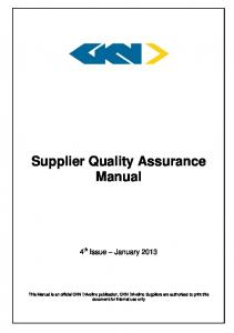 Supplier Quality Assurance Manual