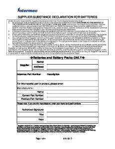 SUPPLIER SUBSTANCE DECLARATION FOR BATTERIES. Batteries and Battery Packs ONLY