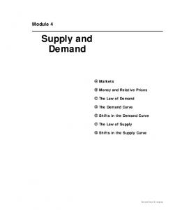 Supply and Demand. Module 4. Markets. Money and Relative Prices. The Law of Demand. The Demand Curve. Shifts in the Demand Curve