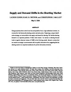 Supply and Demand Shifts in the Shorting Market