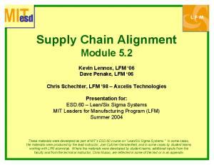 Supply Chain Alignment Module 5.2