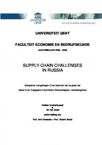 SUPPLY CHAIN CHALLENGES IN RUSSIA
