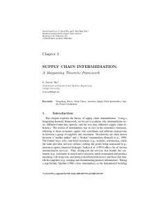 SUPPLY CHAIN INTERMEDIATION: A Bargaining Theoretic Framework