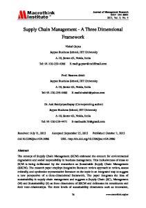 Supply Chain Management - A Three Dimensional Framework