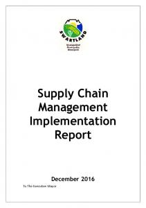Supply Chain Management Implementation Report