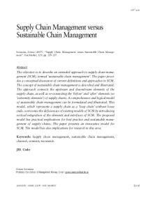 Supply Chain Management versus Sustainable Chain Management