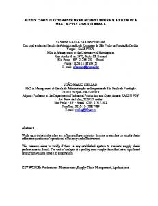 SUPPLY CHAIN PERFORMANCE MEASUREMENT SYSTEMS: A STUDY OF A MEAT SUPPLY CHAIN IN BRAZIL