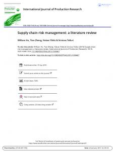 Supply chain risk management: a literature review