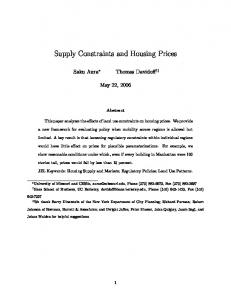 Supply Constraints and Housing Prices
