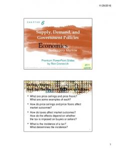 Supply, Demand, and Government Policies P R I N C I P L E S O F. N. Gregory Mankiw. Premium PowerPoint Slides by Ron Cronovich