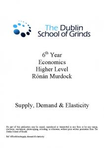 Supply, Demand & Elasticity