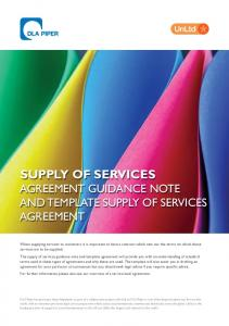 SUPPLY OF SERVICES AGREEMENT GUIDANCE NOTE AND TEMPLATE SUPPLY OF SERVICES AGREEMENT