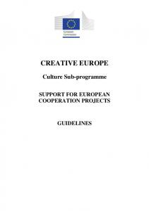 SUPPORT FOR EUROPEAN COOPERATION PROJECTS GUIDELINES