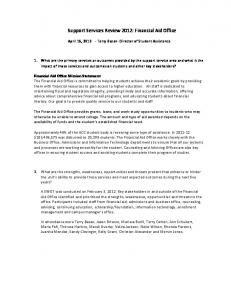 Support Services Review 2012: Financial Aid Office