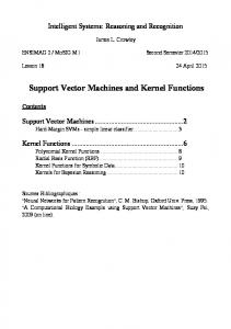 Support Vector Machines and Kernel Functions