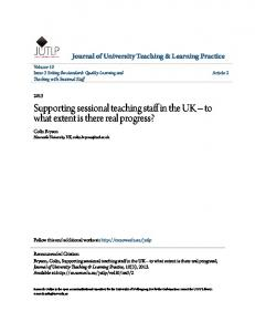 Supporting sessional teaching staff in the UK to what extent is there real progress?