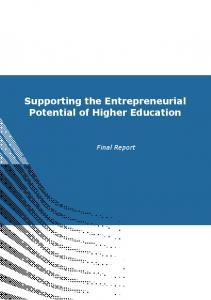 Supporting the Entrepreneurial Potential of Higher Education. Final Report