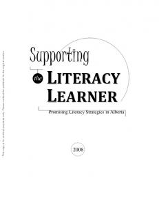 Supporting. the. Promising Literacy Strategies in Alberta