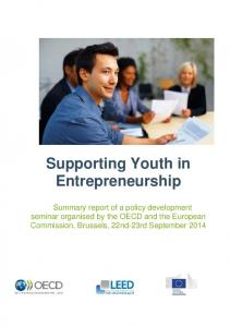 Supporting Youth in Entrepreneurship