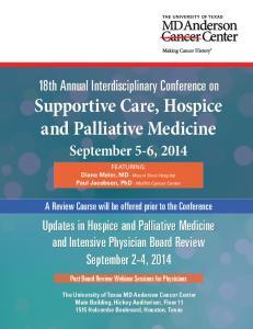 Supportive Care, Hospice and Palliative Medicine