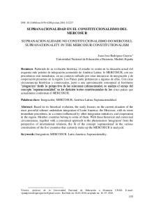 SUPRANACIONALIDAD EN EL CONSTITUCIONALISMO DEL MERCOSUR