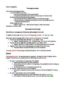 Suprasegmental phonology. Restrictions on arrangements of phonemes (phonological structure):