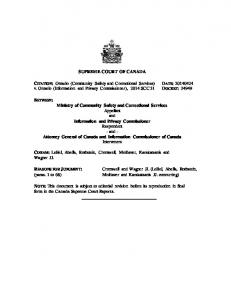 SUPREME COURT OF CANADA. CITATION: Ontario (Community Safety and Correctional Services) v. Ontario (Information and Privacy Commissioner), 2014 SCC 31