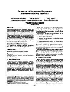 Surework: A Super-peer Reputation Framework for P2p Networks