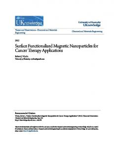 Surface Functionalized Magnetic Nanoparticles for Cancer Therapy Applications