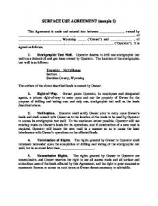 SURFACE USE AGREEMENT (sample 2)
