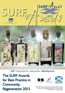 SURFAwards. Awards SURF SURF. SURF : sharing experience : shaping practice : celebrating success