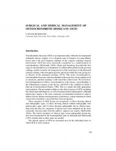 SURGICAL AND MEDICAL MANAGEMENT OF OSTEOCHONDRITIS DISSECANS (OCD)