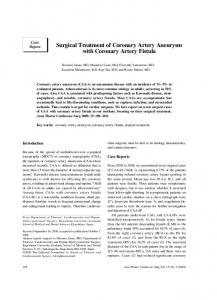 Surgical Treatment of Coronary Artery Aneurysm with Coronary Artery Fistula